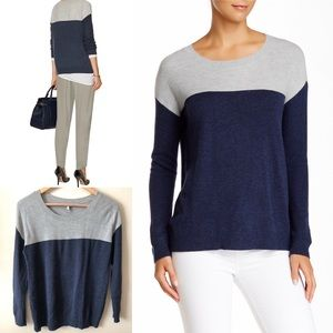 JOIE Camilla TWO-TONED Blue Gray Sweater